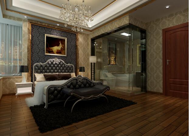 黑色雕花的床头背景墙,加上软包的床头设计,让氛围看起来显得更加凝重